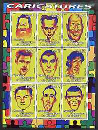 Congo 2001 Caricatures of Movie Stars perf sheetlet containing 9 values unmounted mint