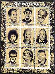 Congo 2001 Caricatures of Celebrites #2 perf sheetlet containing 9 values unmounted mint (Bogart, T Thomas, Dylan, Connery, Hendrix, E Clapton etc)