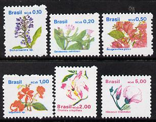 Brazil 1989 Flowers def set of 6, SG 2359-66 unmounted mint*