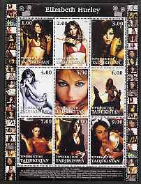 Tadjikistan 2001 Elizabeth Hurley perf sheetlet containing 9 values unmounted mint