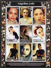Tadjikistan 2001 Angelina Jolie perf sheetlet containing 9 values unmounted mint