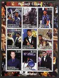 Tadjikistan 2001 Russell Crowe perf sheetlet containing 9 values unmounted mint