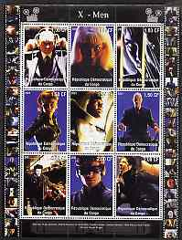 Congo 2001 X-Men perf sheetlet containing 9 values unmounted mint
