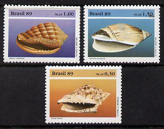 Brazil 1989 Mollusc Shells set of 3 unmounted mint, SG 2382-84