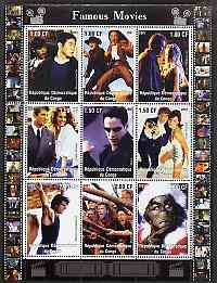 Congo 2001 Famous Movies perf sheetlet containing 9 values unmounted mint