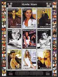 Kyrgyzstan 2001 Movie Stars #1 perf sheetlet containing 9 values unmounted mint