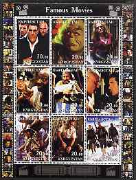Kyrgyzstan 2001 Famous Movies perf sheetlet containing 9 values unmounted mint