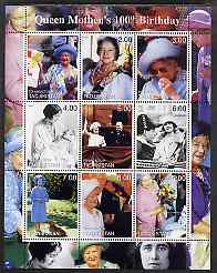 Tadjikistan 2000 Queen Mother's 100th Birthday #2 perf sheetlet containing 9 values unmounted mint