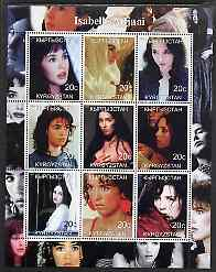 Kyrgyzstan 2000 Isabelle Adjani perf sheetlet containing 9 values unmounted mint