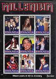 Rwanda 1999 Millennium - Music Stars of the 20th Century (Junior) perf sheetlet containing 9 values unmounted mint