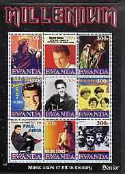 Rwanda 1999 Millennium - Music Stars of the 20th Century (Senior) perf sheetlet containing 9 values unmounted mint