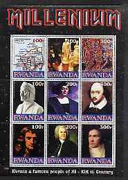 Rwanda 1999 Millennium - Events & Famous People of 11th to 19th Centuries perf sheetlet containing 9 values unmounted mint