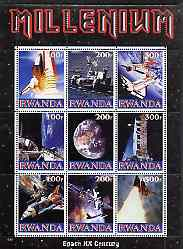 Rwanda 1999 Millennium - Space in the 20th Century perf sheetlet containing 9 values unmounted mint