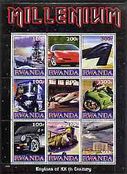 Rwanda 1999 Millennium - Engines of the 20th Century perf sheetlet containing 9 values unmounted mint