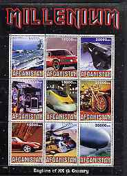 Afghanistan 1999 Millennium - Engines of the 20th Century perf sheetlet containing 9 values unmounted mint