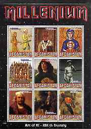 Afghanistan 1999 Millennium - Art of the 11th to 19th Centuries perf sheetlet containing 9 values unmounted mint