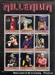 Afghanistan 1999 Millennium - Music Stars of the 20th Century (Medium) perf sheetlet containing 9 values unmounted mint