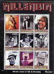 Afghanistan 1999 Millennium - Movie Stars of the 20th Century (Senior) perf sheetlet containing 9 values unmounted mint
