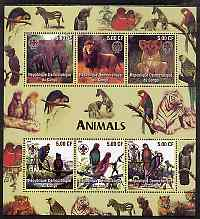 Congo 2005 Animals & Birds perf sheetlet containing 6 values each with Scouts Logo unmounted mint