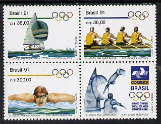 Brazil 1991 Pan-American Games & Olympics set of 3 in se-tenant block with label (yachting, Rowing, Swimming) unmounted mint SG 2471-73