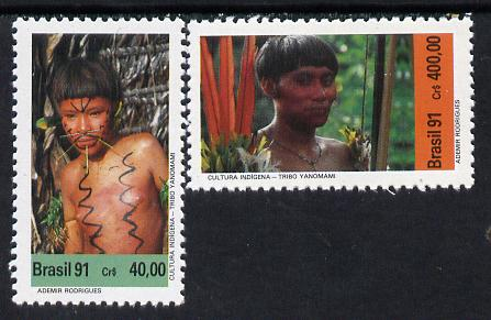 Brazil 1991 Indian Culture (Yanomani) set of 2, SG 2478-79 unmounted mint