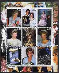 Tadjikistan 2000 A Tribute to Princess Diana #2 perf sheetlet containing 9 values unmounted mint