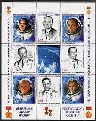 South Ossetia Republic 1999 History of USSR Space Discoveries #04 perf sheetlet containing 8 values plus label unmounted mint