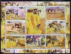 Rwanda 2001 Cowboy Golfers perf sheetlet containing 7 values plus 2 labels, unmounted mint
