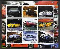 Tadjikistan 2001 Modern Sports Cars perf sheetlet containing 9 values unmounted mint