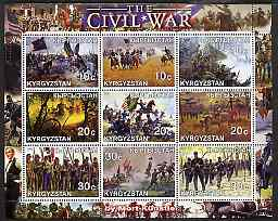 Kyrgyzstan 2001 The Civil War as seen by Mort Kunstler perf sheetlet containing 9 values unmounted mint