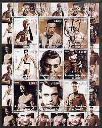 Congo 2000 Film Stars of the 20th Century #4 (Actors) perf sheetlet containing 9 values (Bogart, Elvis, Gable, Brando, Bronson, Grant, Fairbanks jr etc) unmounted mint