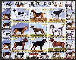 Congo 2000 Rare Dogs of the World #2 perf sheetlet containing 9 values with additional row of perforations at top, unmounted mint, stamps on dogs, stamps on
