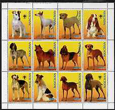 Azerbaijan 1998 Dogs perf sheetlet containing 12 values, four with Scout Logo, unmounted mint