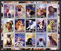 Congo 2002 Paintings of Dogs #1 perf sheet containing set of 15 values each with Scouts Logo, unmounted mint