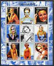 Kyrgyzstan 2000 Cameron Diaz perf sheetlet containing 9 values unmounted mint