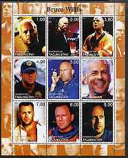 Tadjikistan 2000 Bruce Willis perf sheetlet containing 9 values unmounted mint