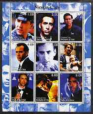 Tadjikistan 2000 Nicolas Cage perf sheetlet containing 9 values unmounted mint