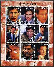 Turkmenistan 2000 Harrison Ford perf sheetlet containing 9 values unmounted mint