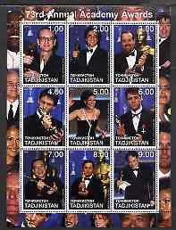 Tadjikistan 2001 The 73rd Academy Awards perf sheetlet #2 containing 9 values unmounted mint