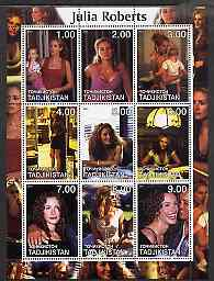 Tadjikistan 2001 Julia Roberts perf sheetlet containing 9 values unmounted mint