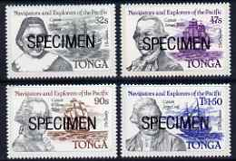 Tonga 1984 Navigators & Explorers of the Pacific (1st Issue) self-adhesive set of 4 opt'd SPECIMEN, as SG 861-64 (blocks or gutter pairs with anchor pro rata) unmounted mint