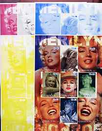 Uzbekistan 2002 Marilyn Monroe #1 imperf sheetlet containing set of 9 values (Inscribed Merilyn) the set of 5 progressive proofs comprising the 4 individual colours plus all 4-colour composite (as issued) all unmounted mint