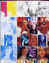 Uzbekistan 2002 Marilyn Monroe #2 imperf sheetlet containing set of 9 values (Inscribed Merilyn) the set of 5 progressive proofs comprising the 4 individual colours plus all 4-colour composite (as issued) all unmounted mint, stamps on films, stamps on cinema, stamps on entertainments, stamps on music, stamps on personalities, stamps on marilyn monroe