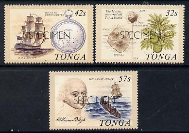 Tonga 1989 Bicentenary of Mutany on Bounty set of 3 opt'd SPECIMEN (Bligh, Breadfruit, Chronometer) unmounted mint as SG 1032-34