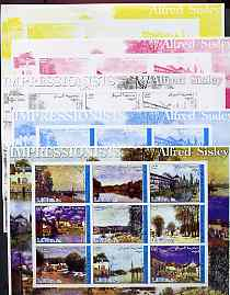 Somalia 2002 Impressionists - Alfred Sisley imperf sheetlet containing 9 values, the set of 5 progressive proofs comprising the 4 individual colours plus all 4-colour composite (as issued) all unmounted mint