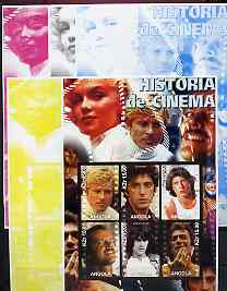 Angola 2002 History of the Cinema #02 large imperf sheetlet containing set of 6 values (Robert Redford, Al Pacino, John Travolta, Jack Nicholson, Robert De Niro & Clint Eastwood), the set of 5 progressive proofs comprising the 4 individual colours plus all 4-colour composite (as issued) all unmounted mint
