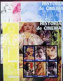 Angola 2002 History of the Cinema #04 large imperf sheetlet containing set of 6 values (Grace Kelly, Marlon Brando, Audrey Hepburn, Montgomery Clift, Brigitte Bardot & James Dean), the set of 5 progressive proofs comprising the 4 individual colours plus all 4-colour composite (as issued) all unmounted mint