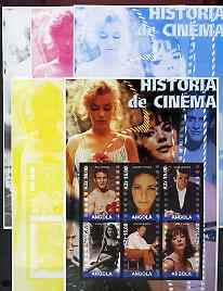 Angola 2002 History of the Cinema #03 large perf sheetlet containing set of 6 values (Paul Newman, Liz Taylor, Gregory Peck (inscribed Steve McQueen in error) Sophia Lore...