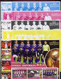 Somalia 2002 Football World Cup (Turkey v Korea) large sheetlet containing 3 values, the set of 5 progressive proofs comprising the 4 individual colours plus all 4-colour composite (as issued) all unmounted mint