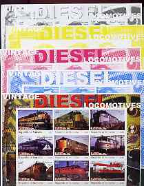 Somalia 2002 Diesel Locomotives #1 imperf sheetlet containing set of 9 values, the set of 5 progressive proofs comprising the 4 individual colours plus all 4-colour composite (as issued) all unmounted mint